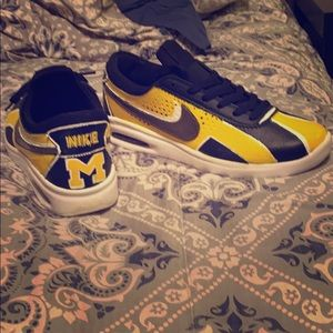 Customized Nike air size 8.5 for that Michigan fan